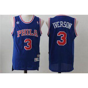 Shirts - Philadelphia 76ers Allen Iverson Blue Jersey (2)